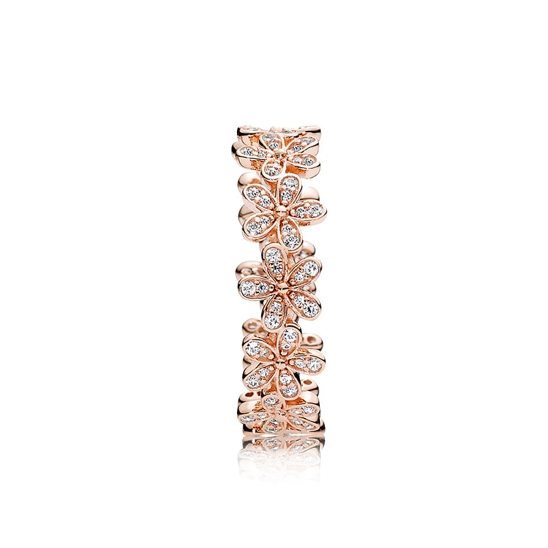 Original 925 Sterling Silver & Rose Gold Color Daisy Flower Ring For Women Original 925 Silver Rings Brand Jewelry Gift