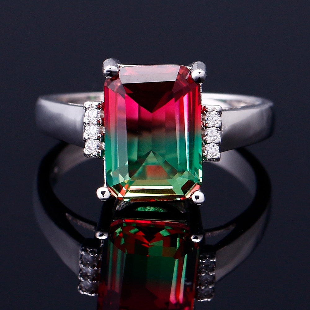FCGJHW Multicolor Large Rectangular 10 * 14MM Tourmaline Craft Zircon Ring Female Engagement Wedding Party Jewelry Anniversary