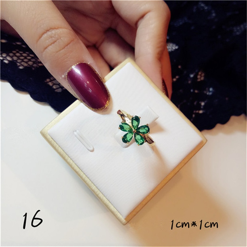 Vintage Emerald Rings For Women S925 Sterling Silver 18K Gold Green Cubic Zirconia Open Ring Simple Temperament Fine Jewelry