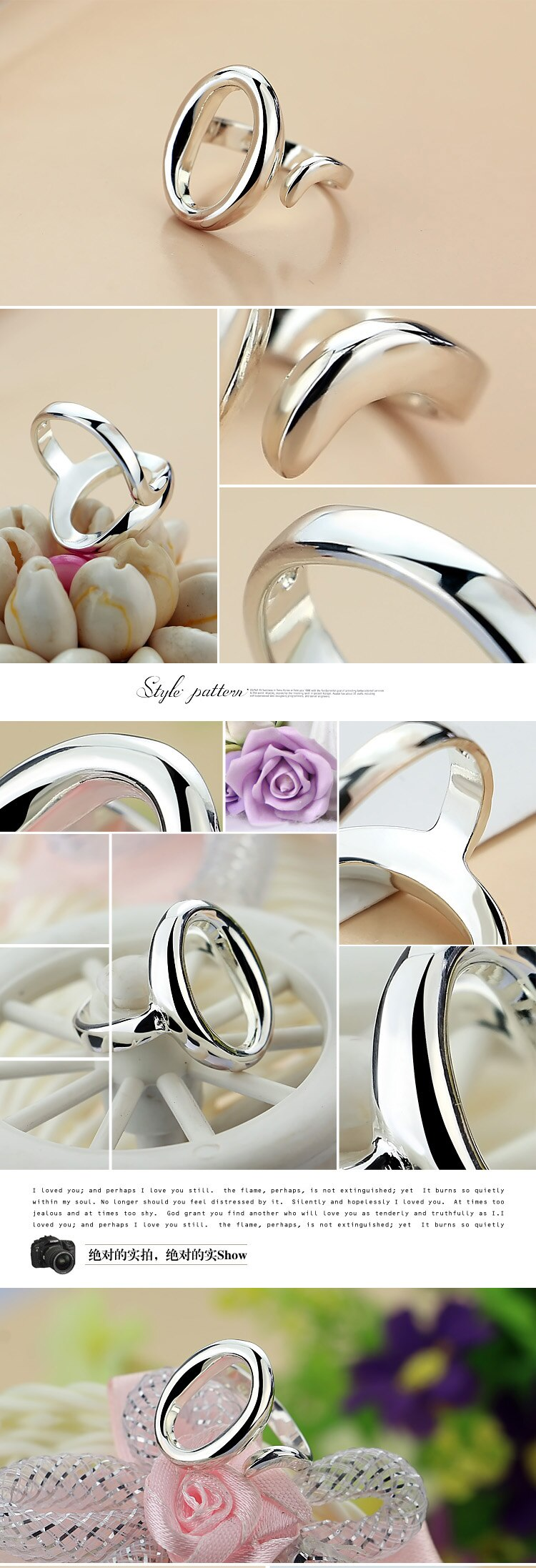 Fashion simple round big ring. 100% Solid 925 sterling silver adjustable size ring for women. Hot Sales Charm Lady Jewelry.gift