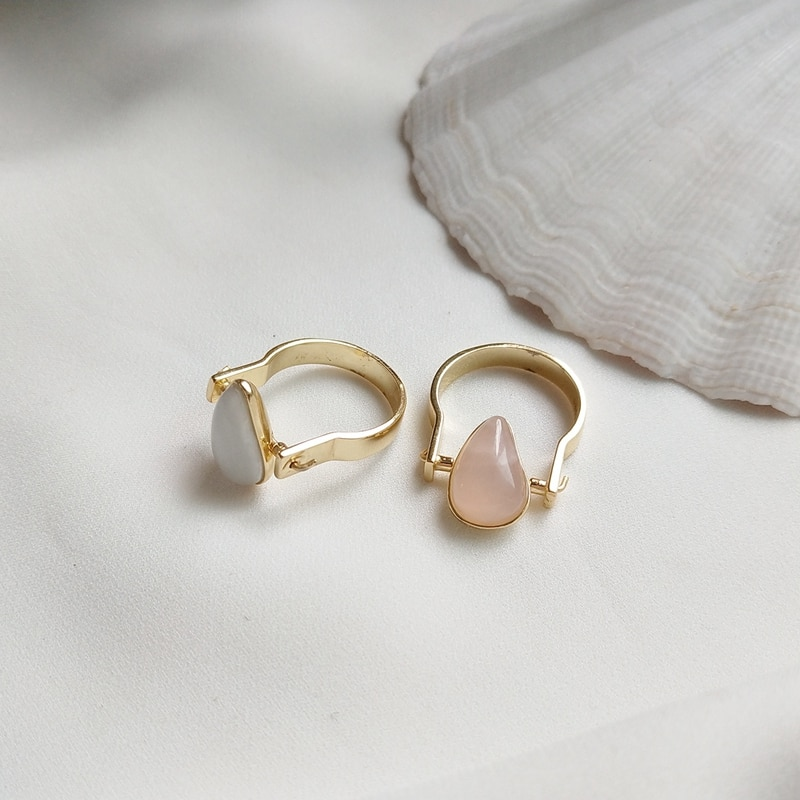 Designer style 925 sterling silver rings mosaic pink crystal natural stone simple fashion design wild rings women charms jewelry