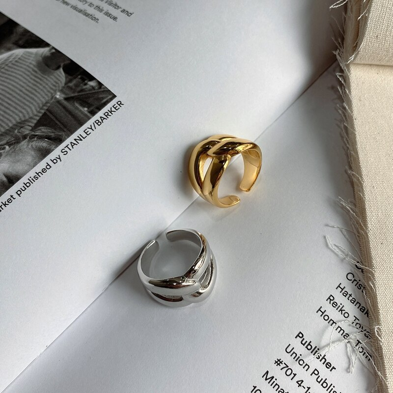 LouLeur Genuine 925 Sterling Silver Irregular Ring Minimalist Female Wide Party Rings For Women Fashionable Fine Jewelry