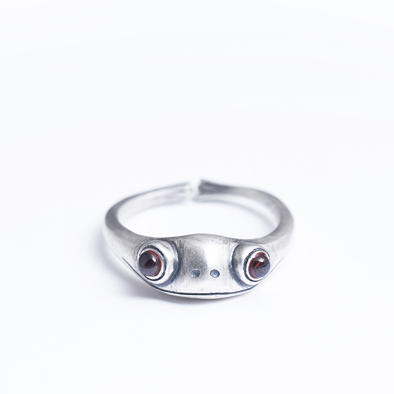New 925 sterling silver red jade frog rings silver handmade natural red jade vintage frog open rings for women jade jewelry gift