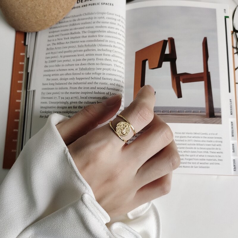 LouLeur 925 sterling silver Mermaid rings gold round creative elegant Korea style open rings for women friendship jewelry charm