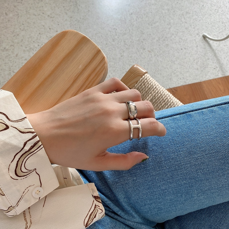 LouLeur Real 925 Sterling Silver Arc Ring Female Minimalist Letter H Adjustable Open Ring For Women Luxury 925 Fine Jewelry Gift