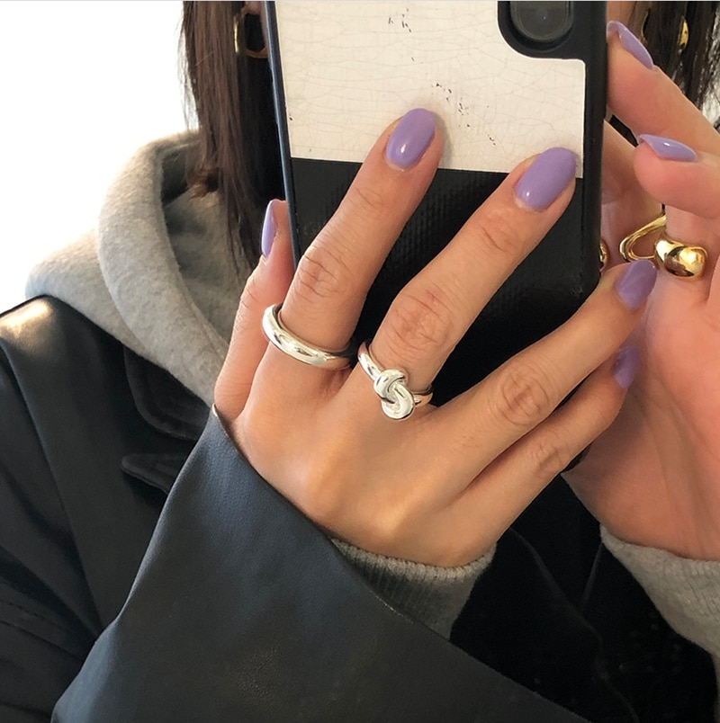 LouLeur Real 925 Sterling Silver Knotted Ring Minimalist Geometric Designed Ring For Women Fashionable Wedding Fine  Jewelry