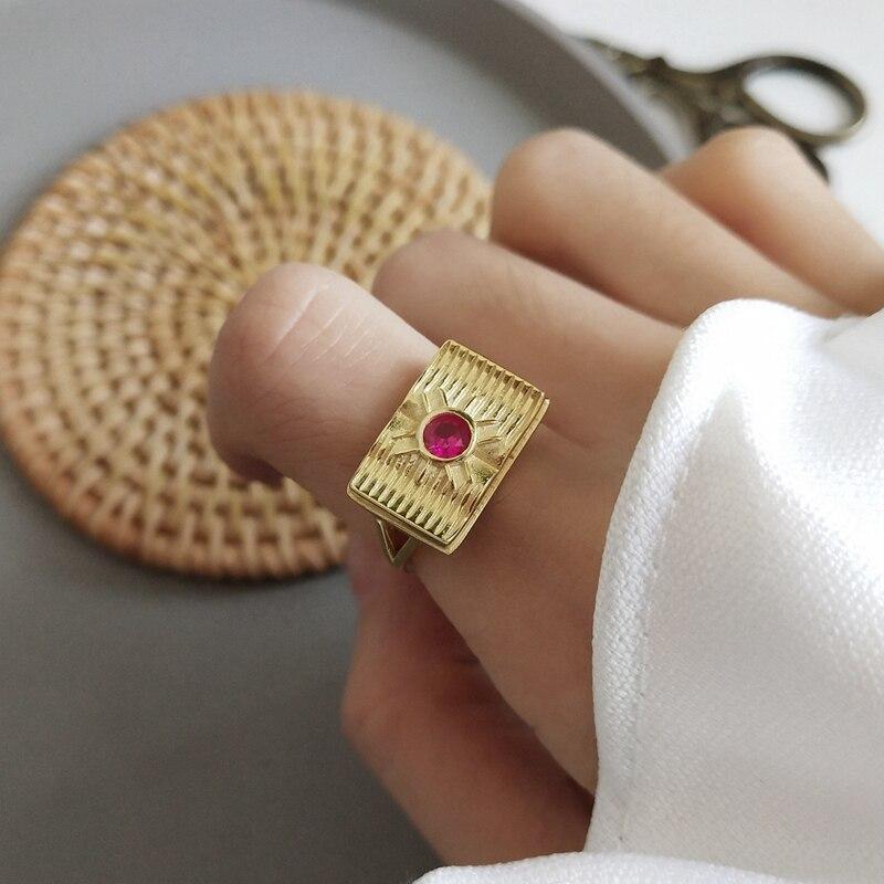 LouLeur 925 sterling silver red zircon wisdom rings gold Geometric element design open rings for women festival jewelry gift