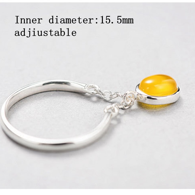 New design 925 sterling silver jade rings yellow agate crystal women temperament open rings simple fashion design jewelry gift