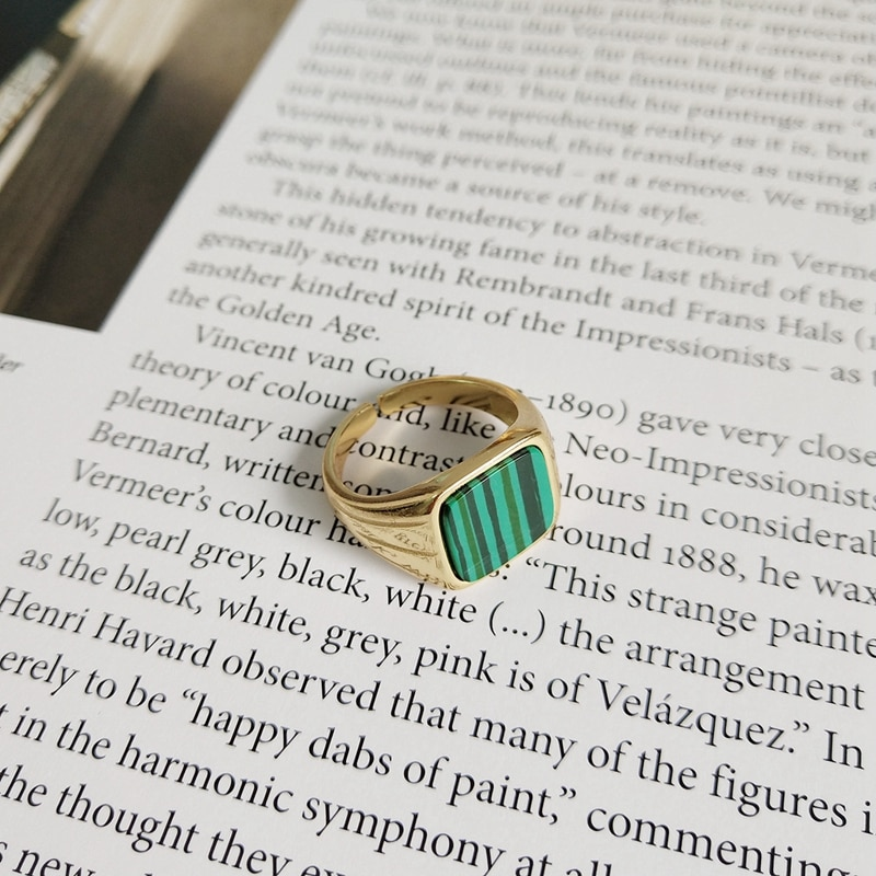 LouLeur 925 sterling silver Malachite square rings gold classic design elegant chic open rings for women festival jewelry gift