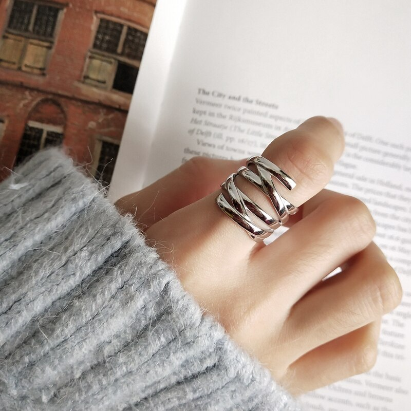 LouLeur 925 sterling silver line weave Multi-layer rings silver creative temperament open rings for women festival jewelry gift