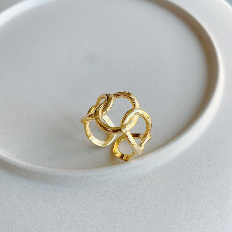 LouLeur Real 925 Sterling Silver Weave Wide Chain Ring 18K Gold Openwork High Quality Minimalist Rings for Women Elegant Jewelry