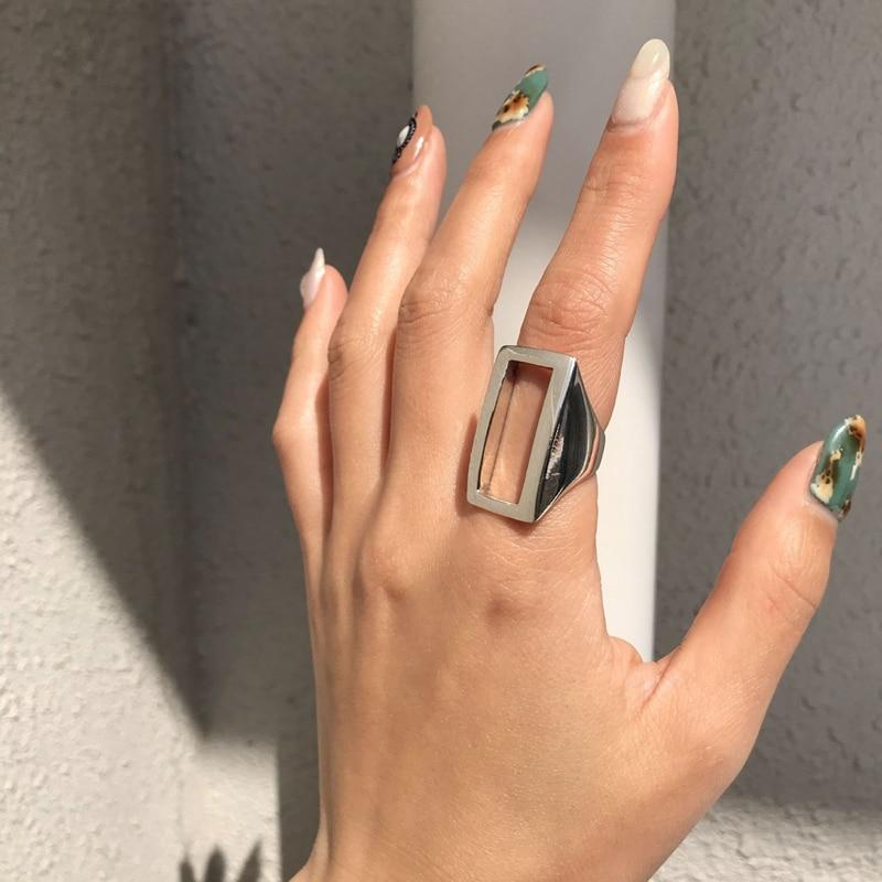 LouLeur Real 925 Sterling Silver Rectangular Ring Minimalist Geometric Adjustable Open Rings For Women Luxury 925 Fine Jewelry