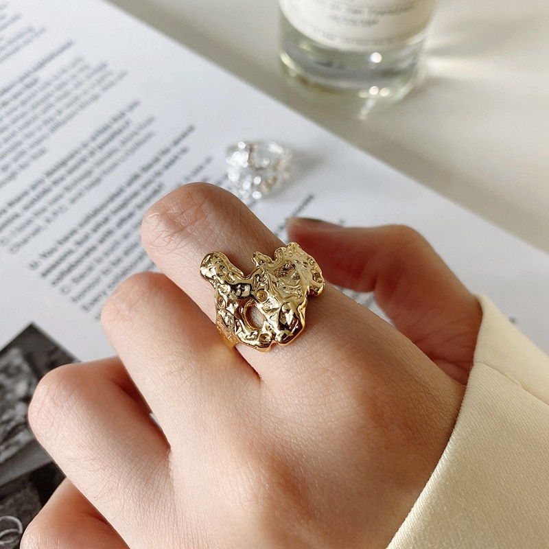 LouLeur Real 925 Sterling Silver Irregular Ring Western Style Minimalist Hollow Open Rings for Women Luxury Fine Jewelry Gifts