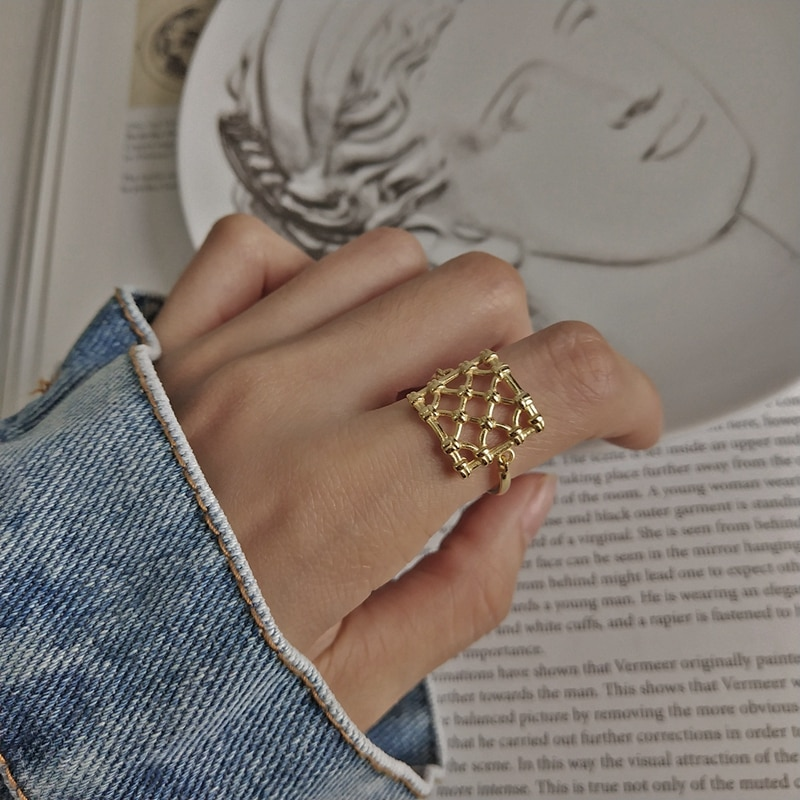 LouLeur 925 sterling silver weave mesh rings gold simple element design wild elegant rings for women fine jewelry for charm gift