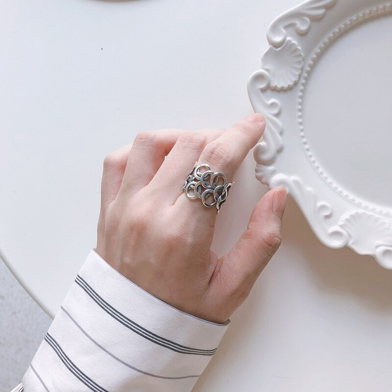 LouLeur Real Retro 925 Silver Sterling Rings Vintage Circle Wide Ring for Women Casual Office Party Ring Fashion Silver Jewelry