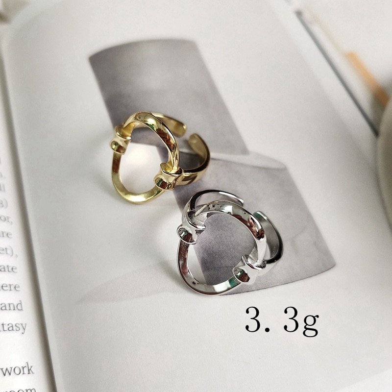 LouLeur 925 sterling silver openwork oval rings wild Geometric creative elegant open rings for women 2019 Summer jewelry gift