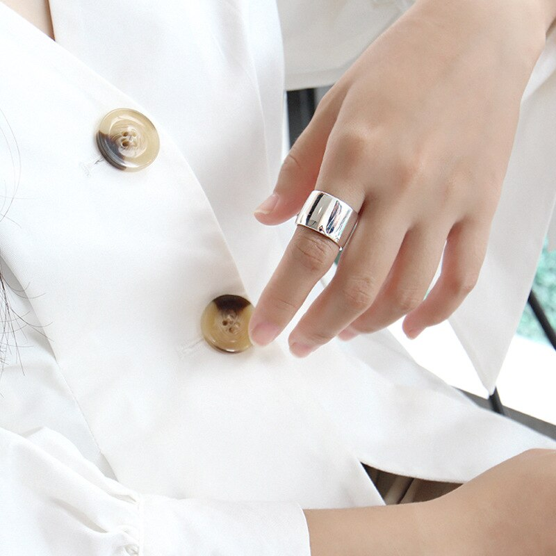 LouLeur 925 sterling silver glossy wide face open rings silver simple design elegant temperament female rings 925 silver jewelry