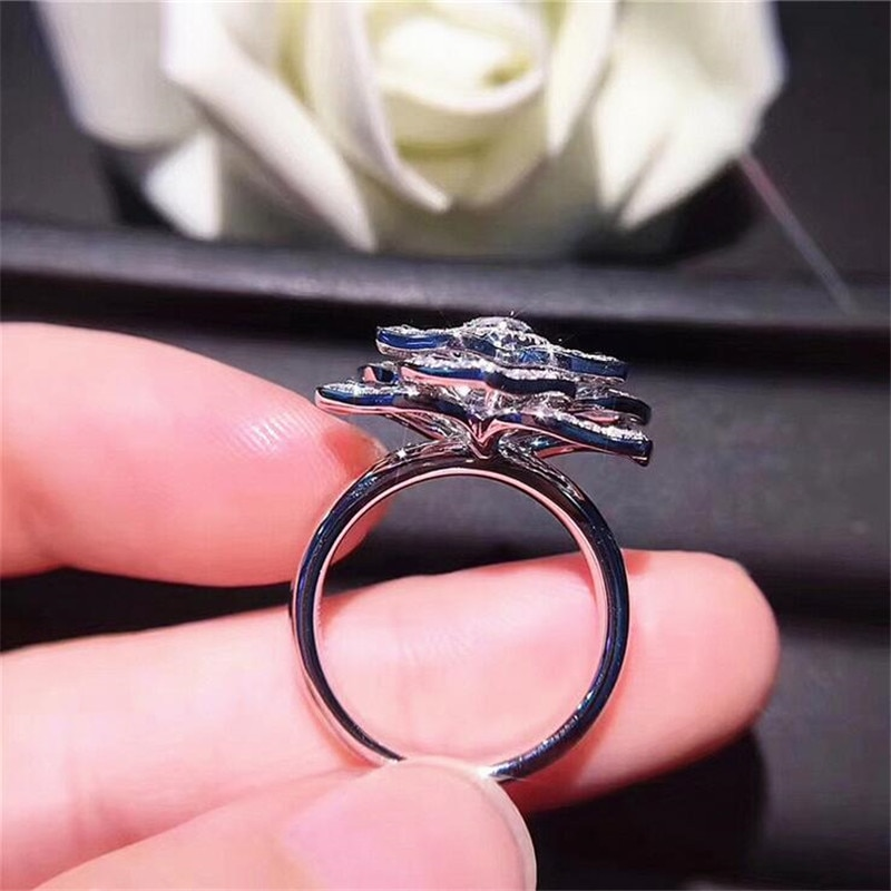 Big Angel wings Ring 925 Sterling Silver Cute Boho Female Silver Engagement Ring Vintage Party Wedding Band Rings For Women