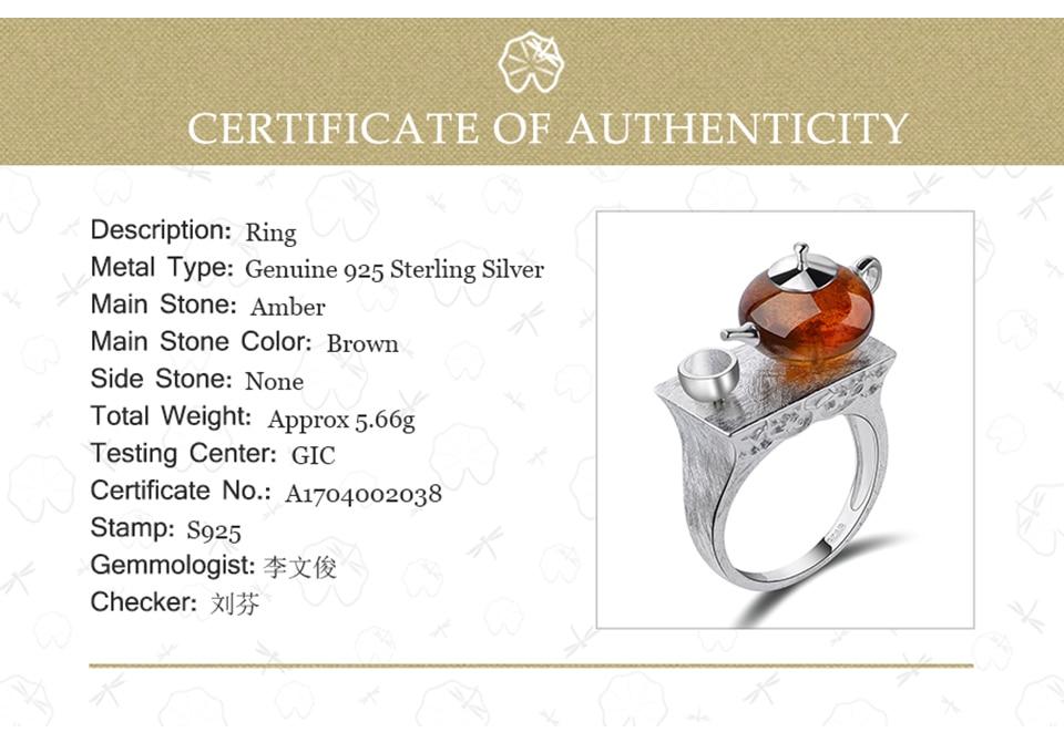 Lotus Fun Real 925 Sterling Silver Natural Amber Ring Original Handmade Fine Jewelry Vintage Cute Teapot Rings for Women Bijoux