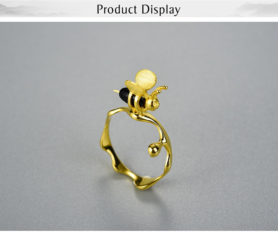 Lotus Fun Natural Gemstone 18K Gold Bee and Dripping Honey Rings Real 925 Sterling Silver Rings for Women Handmade Fine Jewelry