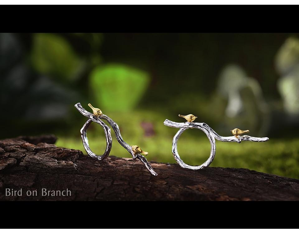 Lotus Fun Real 925 Sterling Silver Original Handmade Fine Jewelry Adjustable Ring 18K Gold Bird on Branch Rings for Women Bijoux