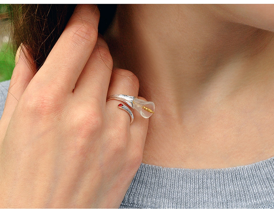 Lotus Fun Real 925 Sterling Silver Natural Gemstones Designer Fine Jewelry Calla Lily Flower Ring Adjustable Rings Women Bijoux