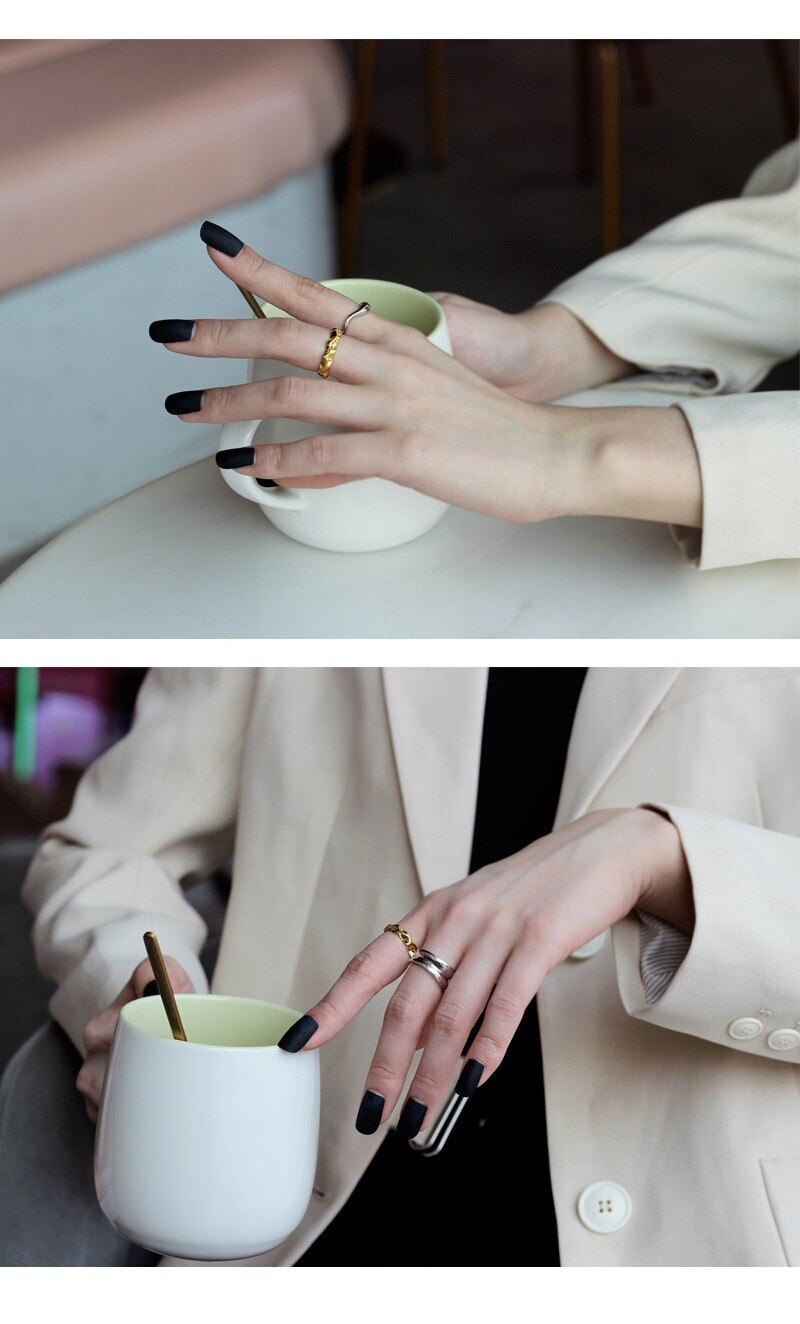 S925 Sterling Silver Simple Irregular Ring Thin Geometric Open Finger Ring For Women Men Elegant Trendy Fine Jewelry Accessories