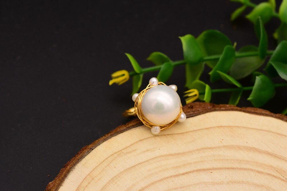 XlentAg Original Design Handmade Ring For Women Natural Freshwater Pearl Wedding Fine Jewelry anillos mujer GR0236