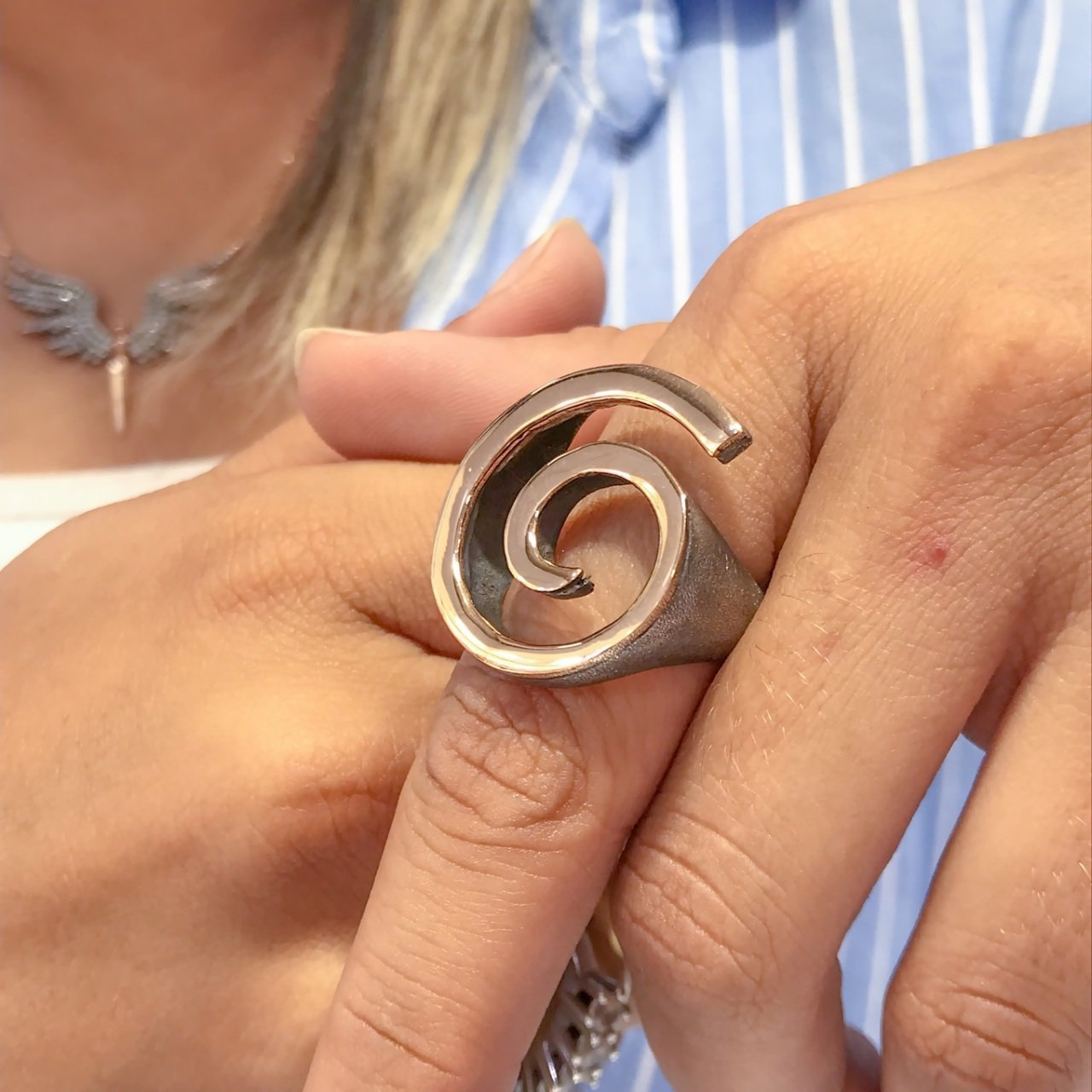 Custom Design Hand Generation Authentic sterling Silver Ring Without Stone