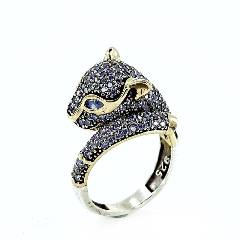 Authentic Hand Production Panther Design Silver Ring