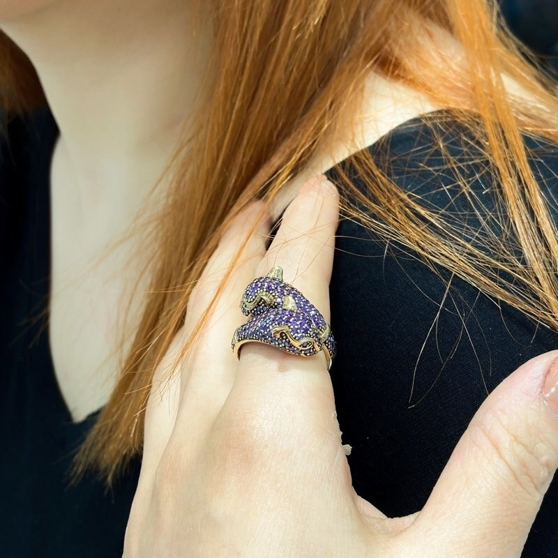 Authentic Hand Production Double Panther Head Amethyst Gemstone Silver Ring
