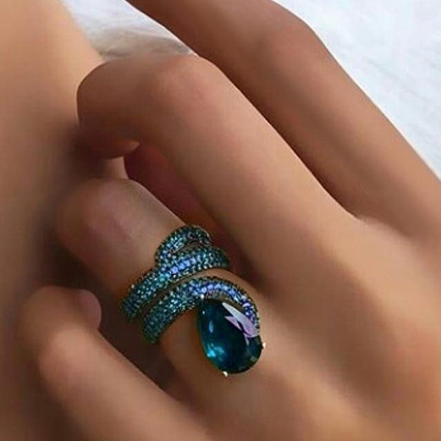 Goth Bohemia 925 Sterling Silver Snake Rings for Women Luxury Zircon Stone Punk Rock Nightclub Ring Fashion Jewelry Gift