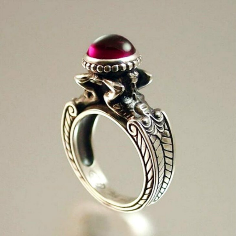 Women's New Fashion Jewelry Vintage Retro Red Zircon Mermaid Thai Silver Ring Party Cocktail Wedding Band Rings