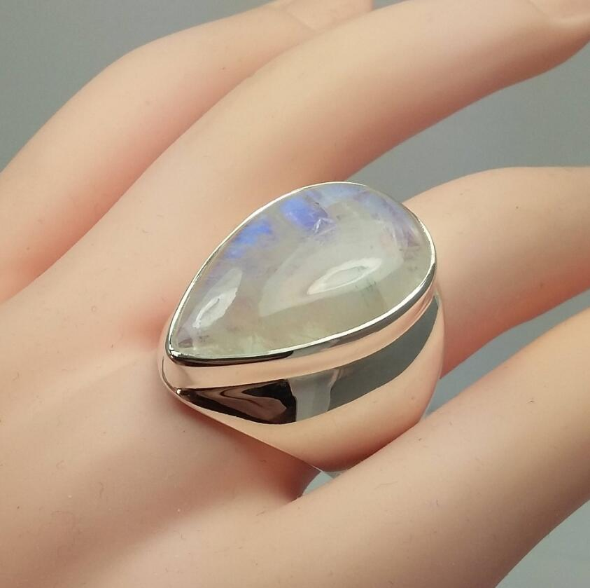 Bohemia Vintage Huge Moonstone Silver Ring for Women New Design Punk Water Drop Stone Party Boho Jewelry