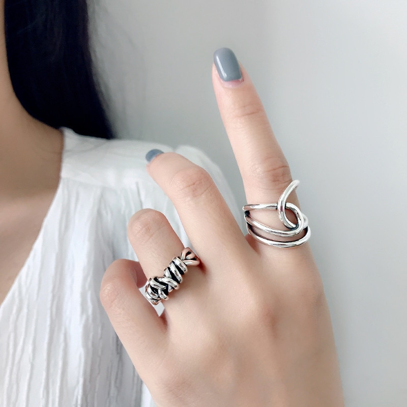 100% Real Pure 925 Sterling Silver Vintage Geometric Layer Rings Silver Jewelry