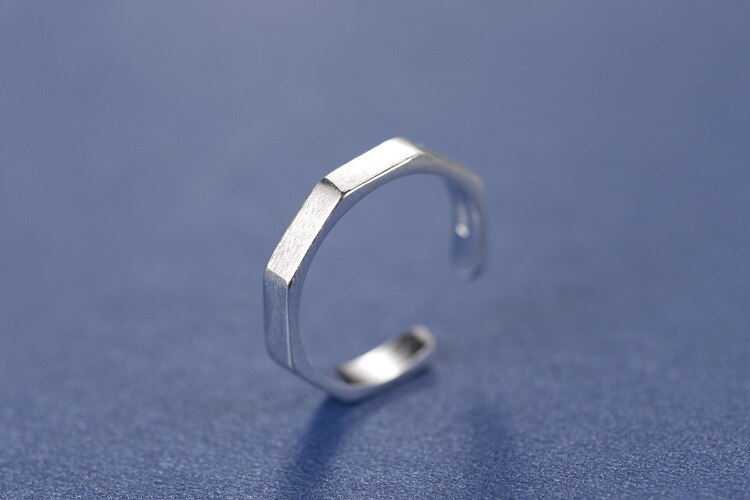 925 Sterling Silver Geometric Hexagon Open Ring Jewelry Christmas Gift Women Jewelry Finger Rings