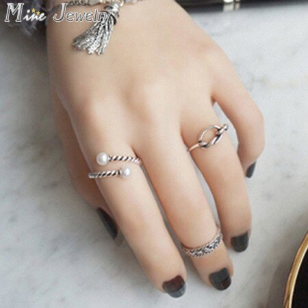 New Arrival Retro Vintage Fashion 925 Sterling Silver Rings Pearl Jewelry Open Ring For Women Party Gift Anel Prata Sale