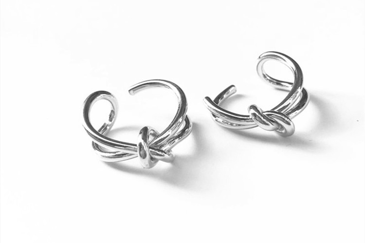 XIYANIKE 925 Sterling Silver Design Creative Double Knot Opening Rings For Women Wedding Couple Trendy Jewelry Adjustable