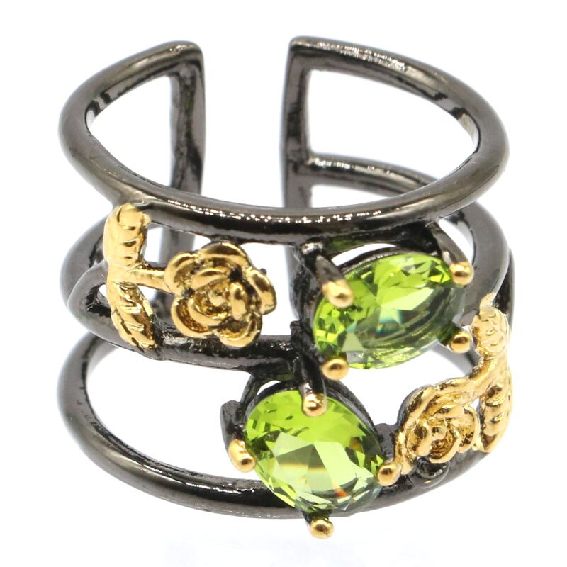 15x10mm Sublime Antique Vintage Style Created Aquamarine Green Peridot Gift For Sister Black Gold Silver Rings