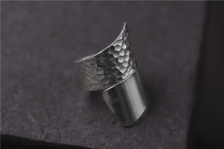 C&R Real S925 Sterling Silver Rings for Women Mixed Style Hyperbole 34mm Wide Handmade Thai Silver Rings Fine Jewelry Size 4-10