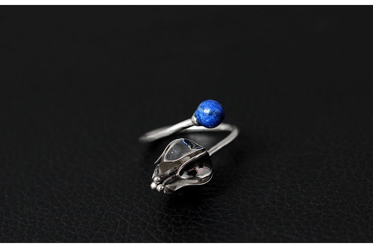 925 Silver Rings for Women Original Design Inlaid Lapis Lazuli Flower Opening Ring Female Antique Ring Fine Jewelry