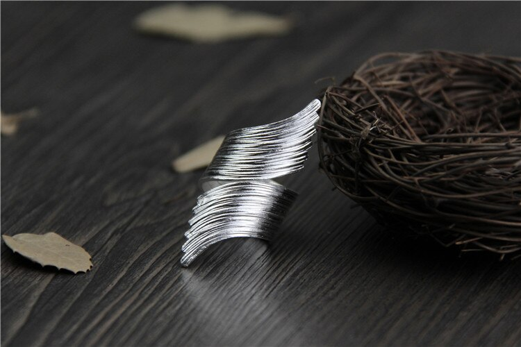 C&R Real S999 Sterling Silver rings for women Curved feather Thai silver rings handmade polishing opening ring Fine Jewelry
