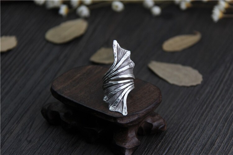 C&R Real S999 Sterling Silver Rings for Women Hyperbole Leaf Thai Silver Ring Opening Vintage Handmade Fine Jewelry Size 7-9
