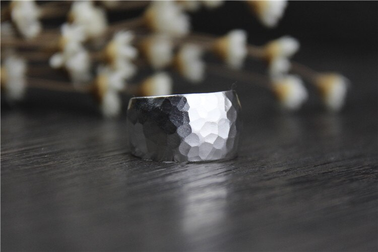 C&R Real S999 Sterling Silver Rings for Women Wide Uneven Opening Ring Handmade Thai Silver Ring Vintage Fine Jewelry Size 6-9