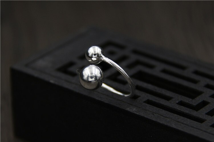 C&R 925 Sterling Silver Rings for Women Abstract personality double beads ring polishing surface opening ring Fine Jewelry