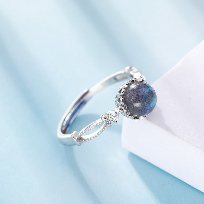 925 Pure Silver Natural Moonstone Opening Rings for Women Female Korean Style Individual Rings Party Fine Jewelry
