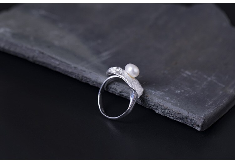 Freshwater Pearl Opening Adjustable Rings for Women S925 Silver Simple Drawn Leaf Ring Vintage Fine Jewelry