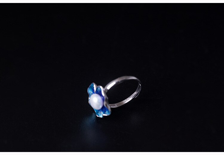 S925 Sterling Silver Natural Pearl Rings for Women Cloisonne Lotus Leaf Shape Opening Ring Female Ethnic Fine Jewelry Adjustable