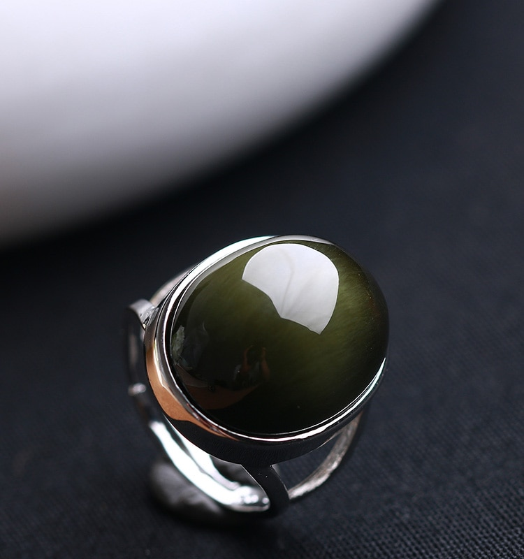 Natural Obsidian Ring Green Cat Eye Stone S925 Sterling Silver Mosaic Ring Simple Men Women Gift Crystal Ring Jewelry Wholesale