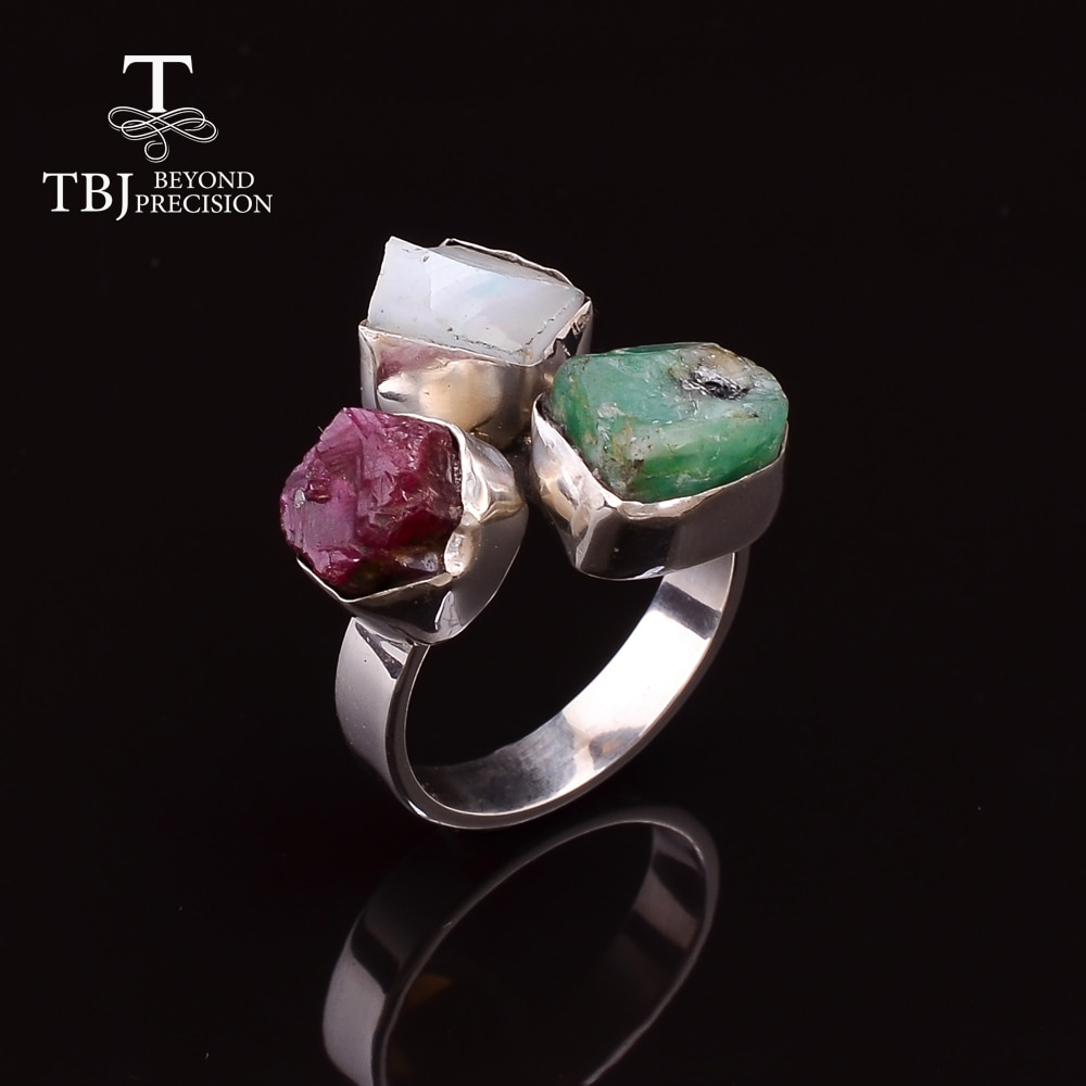 2020 hand made Gemstone Ring 925 sterling silver fine jewelry natural precious mix  gemstones opal emerald ruby unique Ring